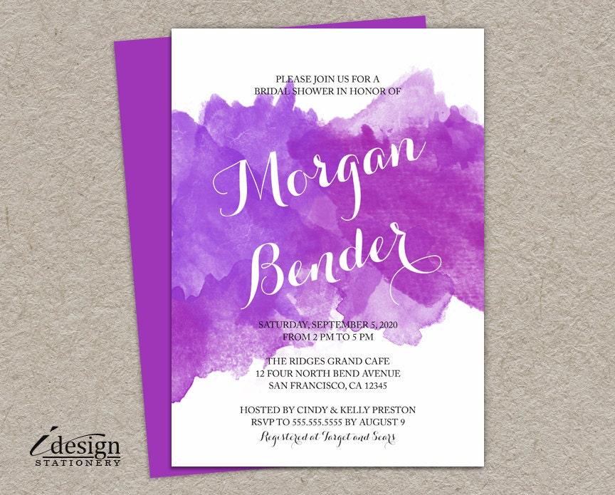 DIY Watercolor Bridal Shower Invitation Printable Purple