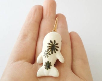 Porcelain Narwhal with Flowers and Gold Tusk