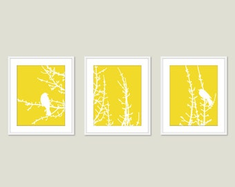 Modern Birds on Branches Art Prints - Birds Wall Art - Yellow Art - Birds on Tree Twigs - Set of 3  prints 5x7 or 8x10 Frames not included