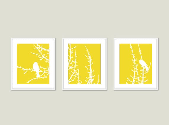Modern Birds on Branches Art Prints Birds Wall Art Yellow