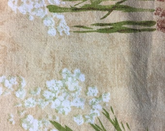 Vintage Table Cloth Sand Tan With White Flowers Pakistan 100% Cotton 72 x 56
