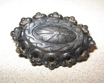 Victorian Mourning Jewelry Pin Brooch Vintage Costume Jewelry #5740