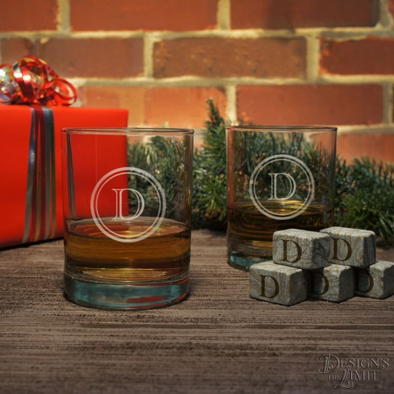 old fashioned gift set  personalized lowball or highball