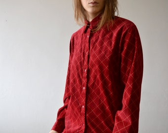 vintage diagonal plaid fine corduroy red long sleeve boyfriends button up shirt