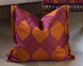 Cushion cover/pillow cover Jacquard, 40 x 40 cm, patterned with side standing seam, orange,
