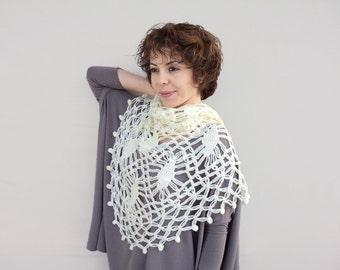 Bridal Shawl - Ivory Crochet Scarf - Ivory Bridal Wrap, Ivory Shawl, fast shipping now