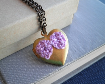 Purple Bow Heart Locket Necklace - Hand Knit Fiber Art Bow Antiqued Brass Locket Pendant - Pastel Purple Bow Love Locket Jewelry Gift
