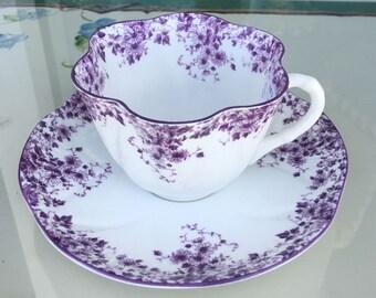 SHELLEY Cup and Saucer DAINTY MAUVE  Teacup Shelley England