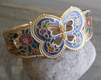 Butterfly enamel Bangle Bracelet gold tone