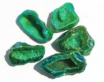 5 Pcs Green Titanium Druzy Geode Beads Size 43-40 mm Green Titanium Druzy Cave Beads, Occo Half / Drill Hole You Choose GTD15
