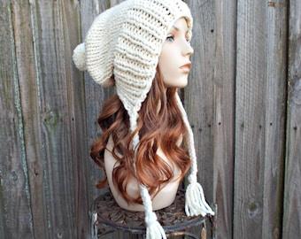 Metallic Starlight Cream Womens Pom Pom Hat - Cream Hat Cream Beanie Slouchy Hat Slouchy Beanie Winter Hat - Charlotte
