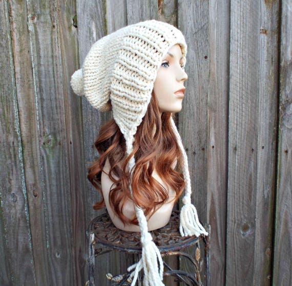 Metallic Starlight Cream Womens Pom Pom Hat - Cream Hat Cream Beanie Slouchy Hat Slouchy Beanie Winter Hat - Charlotte