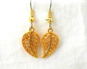 Leaf Earrings Gold Earrings Surgical Steel French Hooks Dangle Drop Earrings