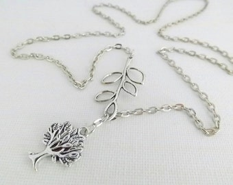 Tree of Life Necklace / Branch Necklace / Tree of Life Lariat Necklace / Branch Lariat Necklace / Gift for Mom / Silver Tree Necklace