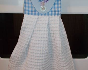 Blue Gingham Hanging Kitchen Towel, Blue Embroidered Kitchen Towel, Upcycled Waffle Cloth Tea Towel, Gingham Hand Towel