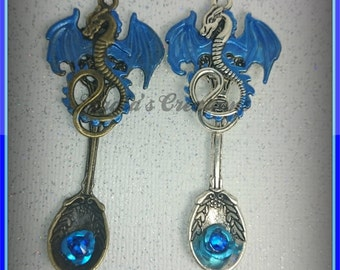 Dragon Spoon Pendants, fantasy jewelry, Gothic jewelry, chronic illness awareness, Birthstone jewelry, tableware jewelry