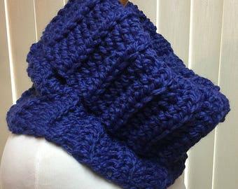 Royal Blue Cobalt Turtleneck Cowl Neck Warmer Chunky, Wool Blend Handmade Crochet Knit Winter, Women's Ladies Gifts for Her