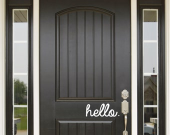 Hello Door Decal and Wall Decal - Hola and Bonjour Door Decal and Wall Decal. Door Decal