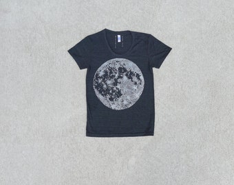 MOON shirt - women tshirt - graphic tee women - full moon t shirt - tri-blend black tee - astronomy shirt - gift for her by Blackbird Tees