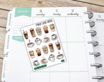 Drawn Coffee, Happy Coffee, Coffee Mug, Coffee, Vinyl Sticker, Function Stickers, Erin Condren, Happy Planner, Planner Stickers || I019