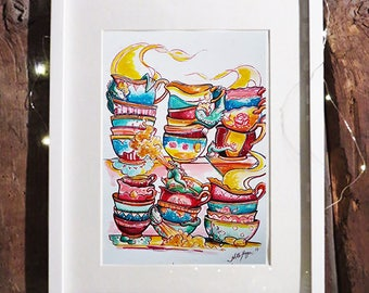 The dragon tea parlor | Original Watercolor painting | A3 | Nille Illustrations