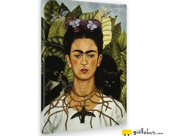 Canvas paintings Canvas-Frida Kahlo-Self-portrait with thorn necklace and hummingbird-yellow BUS