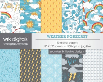 Weather Forecast Seamless Digital Paper Pack, Digital Scrapbooking, Instant Download