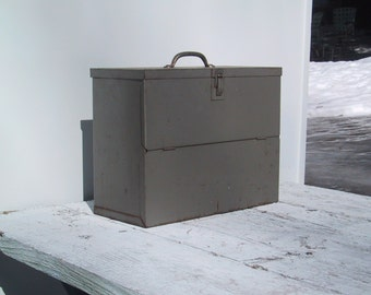 Vintage Metal Storage Box With Hinged Lid and Front