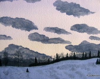 The Back Forty - 5x7 or 8x10 Archival Giclée Print - Watercolour Archival Print - Farm, Winter, Snow, Sunset