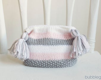 Newborn Striped Tassel Hat, Pink And Grey,  READY TO SHIP Newborn Photo Prop