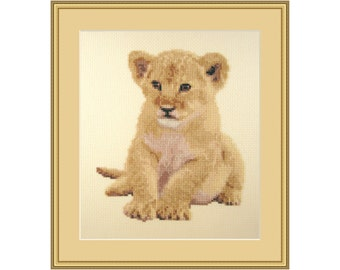 Cross stitch kit Prince of the Jungle, lion cub, african animal