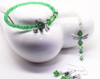 Dragonfly Jewelry Set - Kelly Green Cats Eye Bracelet, Green Crystal Pendant Necklace, Dangle Drop Earrings,  3 Piece Set