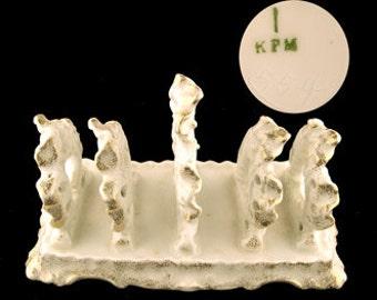 Antique KPM Porcelain Gold Ruffled and Pierced Toast Rack