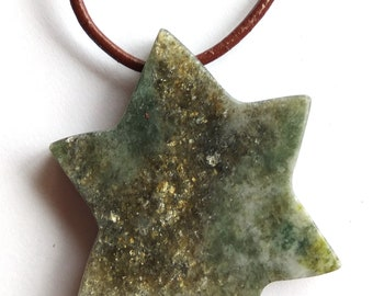 Star shaped Connemara marble pendant necklace, leather necklace. Gold specks