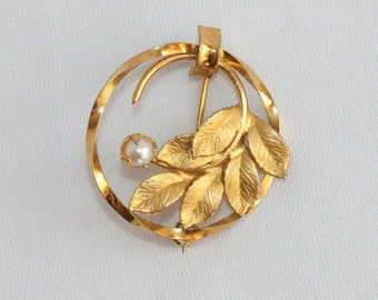 Vintage 12K Gold Filled Circle Brooch Leaf and Faux Pearl by C.R. Co Dainty Elegant Pin