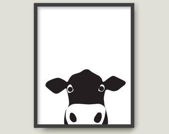 Cow and Flying Flies, PRINTABLE animal art Minimal scandinavian print Bull Ox Baby room wall art Kid nursery home decor Gift (002)