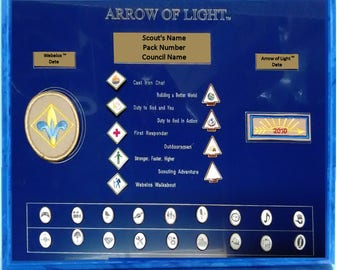 Arrow of Light Plaque, Cub Scout Graduation, Arrow of Light Gift, Cub Scout Patch and Pins Plaque
