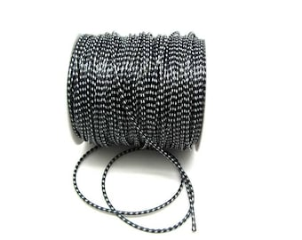 5 m black waxed cord and white - 1.5 mm