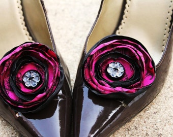 Plum and Black Satin Flower Shoe Clips