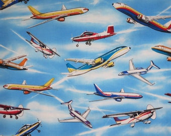 All Kinds of Airplanes on Blue Sky Print Pure Cotton Fabric--By the Yard