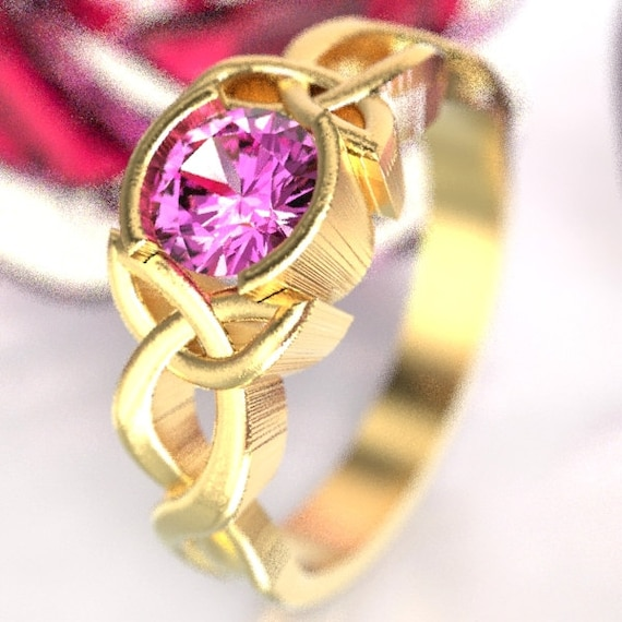 Celtic Pink Sapphire Ring With Trinity Knot Design in 10K 14K 18K Gold, Palladium or Platinum Made in Your Size CR-405b