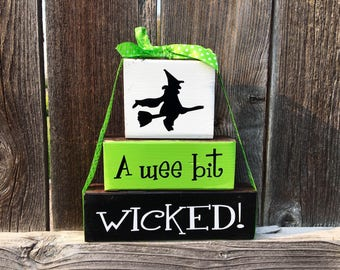 A wee bit wicked wood blocks--Halloween blocks, Witch blocks