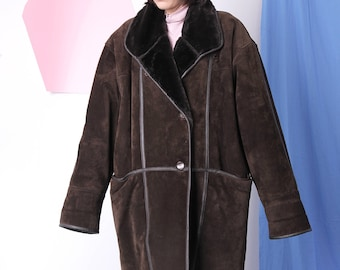 midi leather coat size 46, suede warm faux fur coat, double breasted oversized winter coat, brown shearling vintage coat