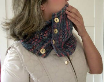 KNITTING PATTERN COWL - Happy Valley Cowl- Easy lace using Knit Picks yarn or fingering yarn, knit cowl lace pattern cables buttoned cowl
