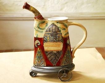 Handmade Ceramic Pitcher with Iron Elements, Pottery Home Decor, Ceramic Art, Wedding gift, Bridal Shower Gift, Housewarming gift, Danko