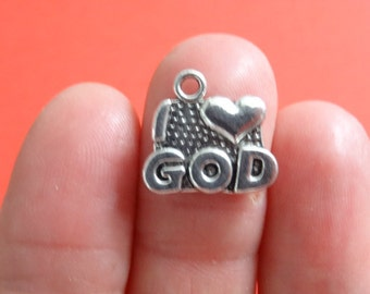 12 'I Love God' Charms Antique Silver - SC1352