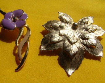 Two Vintage Brooches Gold Tone Leaf and Gold Tone Flower with Lavender Petals