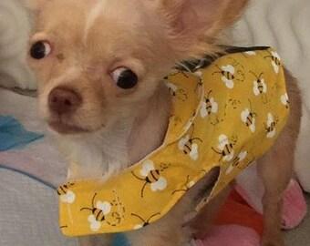 Reversible Honeybee Dog Harness, D Ring Optional Walking Harness, Walking Cat Harness, Custom Pet Clothing