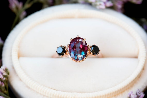 Alexandrite diamond three stone engagement ring, oval engagement ring, three stone ring, rose gold alexandrite ring, alternative engagement