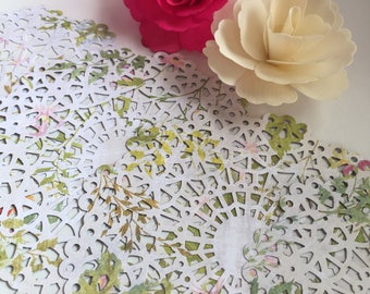 Green floral Doilies